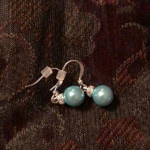 Blue pearl bead earrings